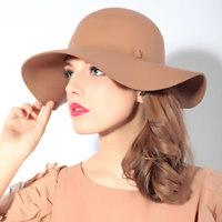 Star LOVE !! High Quality Woolen Hofn's Large Brim Hat For Women
