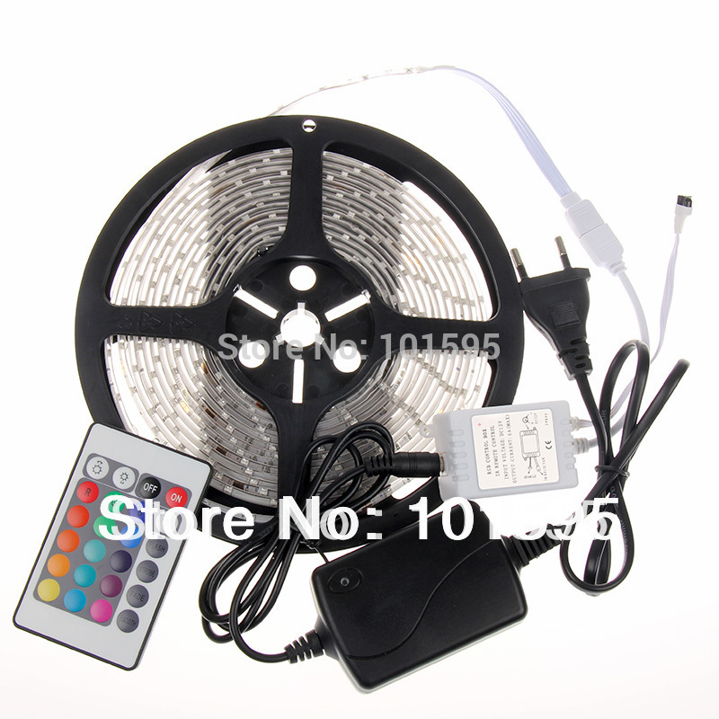 Waterproof 3528 RGB Led Strip Flexible Light 60led/m 5M 300 LED SMD DC 12V+ IR Remote Control + 2A Power Supply free shipping(China (Mainland))