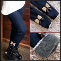 Drop shipping 3-9Y 2015 kids girls bowknot Jean pants cotton cashmere pencil pants elastic waist fleece legging Jegging