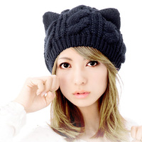 Hat female autumn wool line beret twisted winter knitted hat cat ears