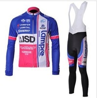 mens Lampre sportswear winter Warm Fleece Thermal road racing skinsuit bike wear clothing cycling jersey +bibs pants