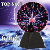 Euro Adapter High Quality 6 inch Magic glass plasma ball Novelty Table Lamp Free Shipping100v~130v / 220v~240v Christmas gift