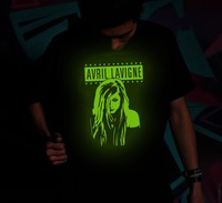 New Arrival Fashion High Quality summer Short-sleeved Punk Nightclubs glow T-shirts of Avril Lavigne t shirt for men Wholesale