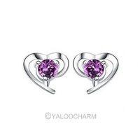 New Fancy Heart Purple Amethyst Gem Dangle 925 Sterling Silver Earring Ear stud Jewellery 261881-261882