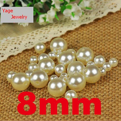 8mm versandkostenfrei! 120pcs/lot mode weiße farbe runden nachahmung perlen großhandel lose acrylperlen schmuck machen diy