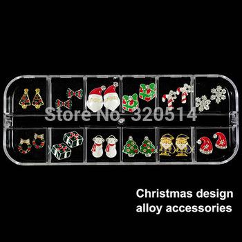 Hot Sale 24pcs XMAS Gift Mixed Design Snowflake Santa Christmas 3D Nail Art Decoration Nail Jewerly Products For DIYNailSupplies