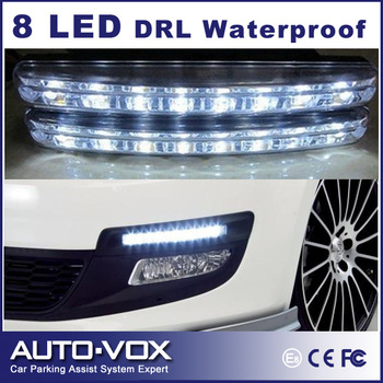 2pcs/set Freeshipping car Head DRL Light Fog Lamp 8 LED Daytime Running light Universal Auto Light waterproof