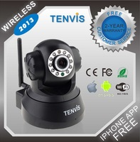Free Shipping Hot Sell ! Tenvis JPT3815W 2013 indoor Wireless Home-use IP Camera Security CCTV Dual Audio WPA Free DDNS black