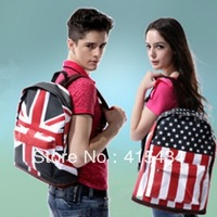 Free Shipping 2013 Unisex Canvas Handbag teenager School bag Book Campus Backpack bags UK US Flag wholesale retail drop shipping