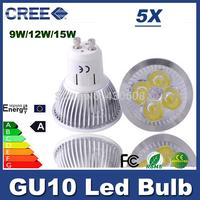 5pcs Super bright Dimmable 9W 12W 15w AC220V-110V GU 10 Led spot Light Spotlight Warm white gu10 led bulb downlight lighting