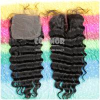 4 * 4 Swiss lace top closure deep wave middle part brazil hair 130% density medium luster