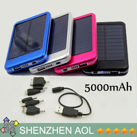Solar Battery 5000mAh 4 colors Solar Battery Chargers Panel USB Charger, Mobile Phone Solar Charge Power Bank