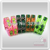 Retail Dog Pet Collar Large Dog Collar Clover Pattern Pet Product PVC Leather Pet Product Pink Green Black Collar Free Shipping