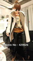 2013 New ladies'  White Long Sleeve thickening lamb plush fur Coat  Wool & Blends  No  button Jacket 0201