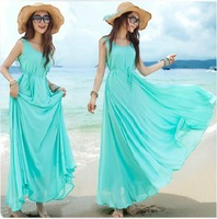 Free Shipping dresses new fashion  elegant bohemia expansion solid color summer causal dress LM8032LS
