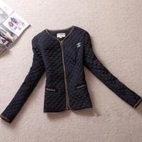 women vintage gold buckle epaulette pocket o-neck slim thin wadded jacket cotton-padded size M to 5XL biggest code