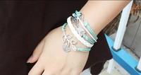 Multilayer Bangle Cuff Bracelet Tree of life Bracelet copper Karma Lover Owl Birds Bracelet Pendant Personalized Bracele