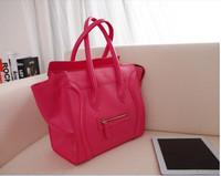 Hot selling!!! 9 colors 2014 Smiley Bag Leather Phantom Designer Women's Handbag women messenger bag Large black