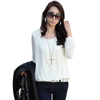 Free Shipping 2013 New Full Puff Sleeve Loose Chiffon Shirt  Fall Blouse Tops S,M,L,XL,XXL RG1309009