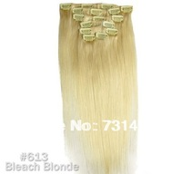"""15"""" Wholesale Virgin Brazilian Women's Human Hair Remy Straight Clips In Extensions 7Pcs 70g Bleacht Blonde #613 Free Shipping"""