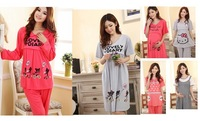 2ag Spring summer autumn winter topical 100% cotton clothes Maternity Dress suit sleepwear nightgown nursing  Feeding mouth hot