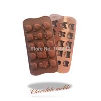 Food silicone mold 15 cartoon silicone chocolate mold cake baking tools Free Shipping!