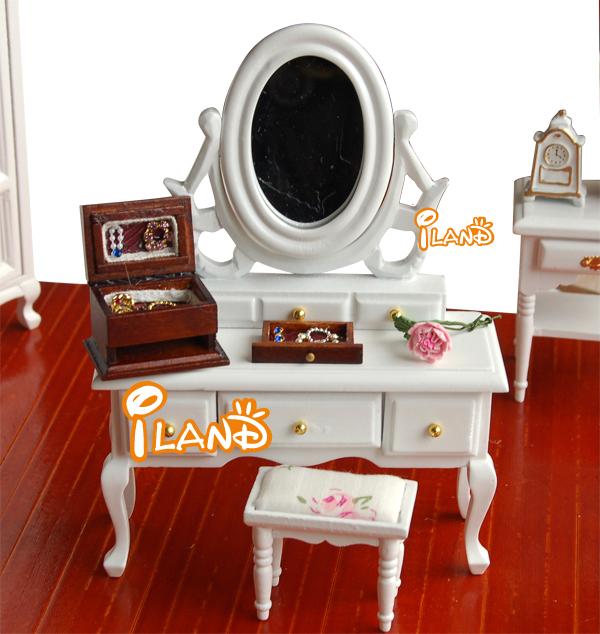 iland 1:12 Dollhouse Miniature Bedroom Furniture White Dresser and Stool Modern Vanity 2pcs WB0089(China (Mainland))