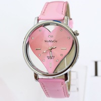 Fashion ladies love cutout decoration popular PU leather watches women wristwatch women free shipping