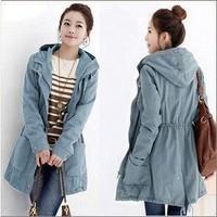 2013 Hitz Korean version of the female models in the long section leisure windbreaker jacket windbreaker women big yards Coat