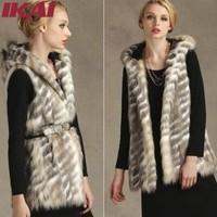 TOP797 Free Shipping Faux Fur Vest Long Pattern Vest High Quality Soft Hair Women Fur Hooded Vest Fur Vest