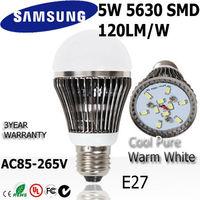 6pcs/lot  5w led light bulb lamp E27 ac85-265V 110v  220v 240v 3year warranty SAMSUNG SMD 120LM/W  Dim + Undim