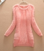 Free shipping 2013 Sweater dress mohair pullover sweater cute bow in the back solid color sweater one-piece Women sweater