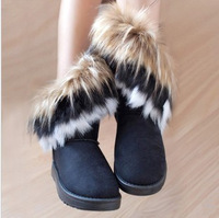 Free shipping 2013 Tassel boots women's boots Flat short tube cotton shoes Winter women snow boots for Lady