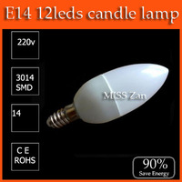 10pcs/lot LED candle light E14 4W SMD 220V 230V 240V 400lm Warm White / Cool White CE&ROHS Free Shipping / China post