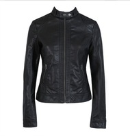 2013 Brand New Leather Jacket Faux Leather Slim Outerwear High Fashion Black Motorcycle Zipper Coat