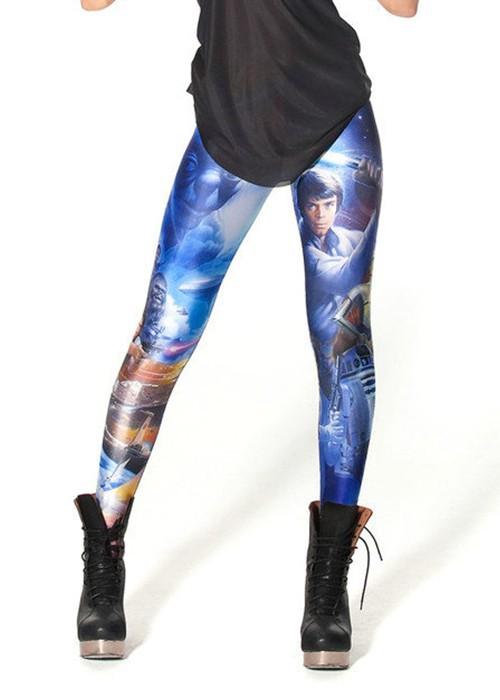 UniHot! Supernova Sale Womens STAR WARS MONTAGE LEGGINGS Digital Printed Milk Vintage Fitness Pants(China (Mainland))