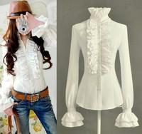 OISK S-XXL noble women flounce blouse formal shirt bell long sleeve business wear tops