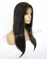 Queen Hair Brazilian Virgin Hair Straight 1# Jet Black 10''-24'' Human Hair Glueless Lace Front Wigs Grade AAAAA Free Shipping
