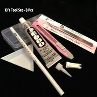 DIY Tool Sets for Phone Case Nail Art Wax Rhinestone Picker Pen Tray  Adhesive Glue JC E600 Curved Tweezers 8Pcs Free Shipping