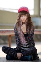 Free Shipping  women gradient brown pink curly wig harajuku anime cosplay wigs