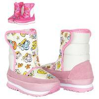 Girls Boots Childrens Kids Autumn Winter Snow Rubber Warm Platforms Winproof Butterfly Pink Peach Riding High Botas Boot Shoes