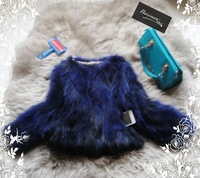 2014 Fashion Real Fur Coats For Women Short  3/4 Sleeve Winter Blue Fox Fur Outerwear Black Natural Fur Coat 10 Colors