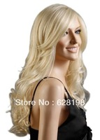 Western Stylish Womens Sexy Long Fashion Golden Natural Hair  Wave Full  Wigs