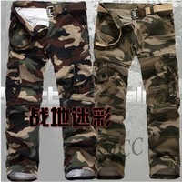 Free Shipping New Fashion Men's Camouflage  Pants Overalls  Mid Waist  Zipper Fly Pants For Men K4