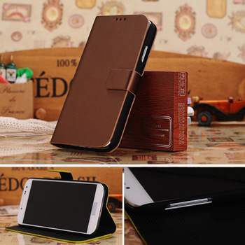 S4 Flip Brushed Standing Mobile Phone Bags & Cases For Samsung Galaxy s4 i9500 with Gift Anti-Sratch Screen Protector
