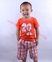 Retail 1pc 2013 new summer Wu children clothing,sport suits, boys T-shirt+shorts 2-piece set, Free shipping