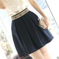 2014 Women Summer Skirt Fashion New Chiffon Short Skater Beading Pleated Skirts Dark Blue Color S-XXL J0792