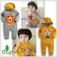 FREE shipping Baby romper baby One-Piece romper Long sleeve one-piece Hooded romper baby jumpsuit 2 colors 0-24M baby rompers
