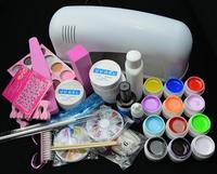 Free Shipping.  Full Set Mix 12 color Nail UV Gel Kit 9W UV lamp kit Brush nail tips Soak Off Polish Manicure File Cleanser Set
