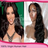 "Free Shipping 2014 Hot star brazilian wave hair 8""-24"" u part wig with closure Human Hair Wigs Wavy"